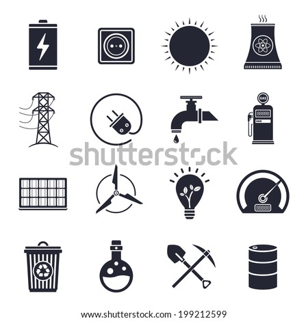Monochrome energy and electricity illustrations icon set. - stock vector