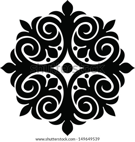 Monochrome ethnic pattern - stock vector