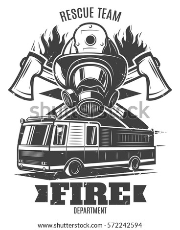 Monochrome Firefighting Template With Rescue Mask Fire Truck Axes And Flame  In Vintage Style Isolated Vector