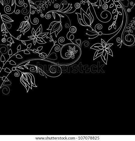 Monochrome floral background with white flowers for textile design. Jpeg version also available in gallery - stock vector