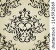 Monochrome floral damask pattern. Elegant design. - stock vector