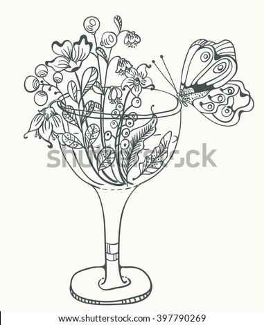 Monochrome Floral illustration with glass, flowers and butterfly for your design,  Hand Drawn Flowers, illustration for coloring book - stock vector