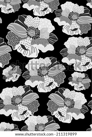Monochrome floral pattern,seamless - stock vector