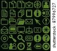 monochrome fluorescent dot-based icon big set for diode or LCD control screens and web design. more icons are available - stock photo