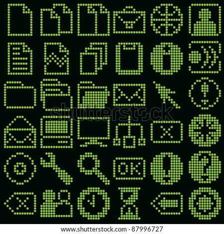 monochrome fluorescent dot-based icon big set for diode or LCD control screens and web design. more icons are available - stock vector