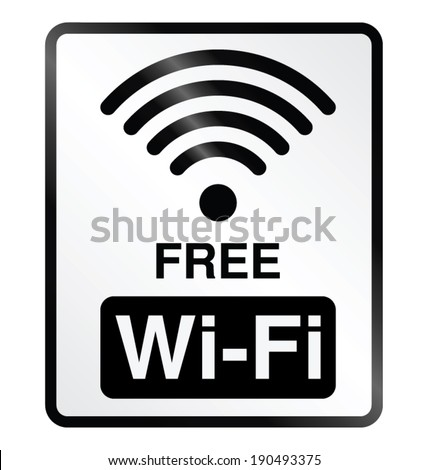 Monochrome free WiFi public information sign isolated on white background - stock vector