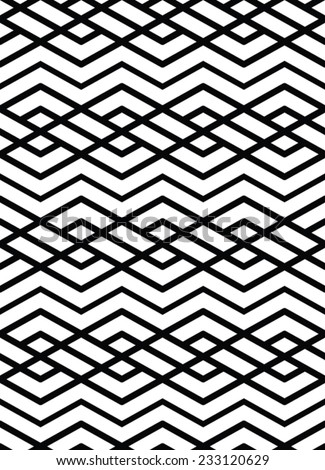 Monochrome geometric art seamless pattern, vector mosaic black and white interweave background. Symmetric illusive artificial backdrop. - stock vector
