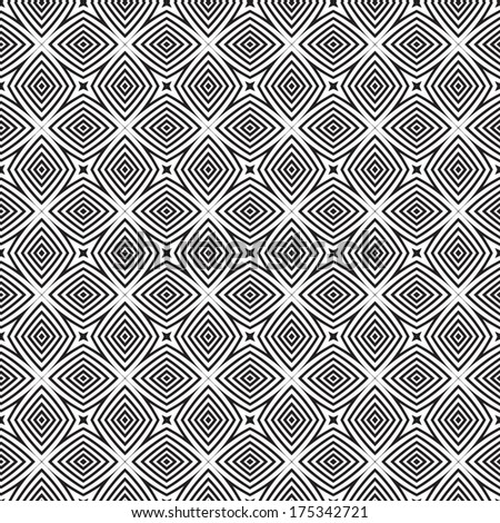 Monochrome Geometric Seamless Pattern. Black and white style pattern.  Repeated boxes