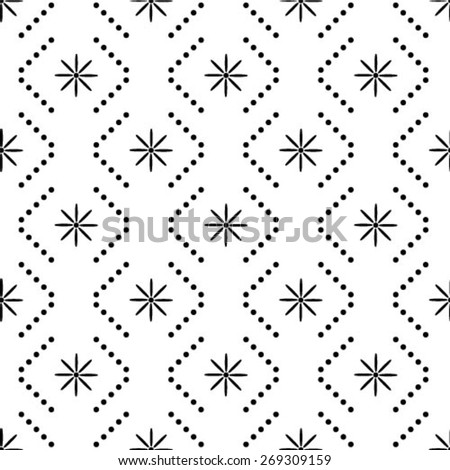 Monochrome geometric seamless pattern with dots and flowers - stock vector