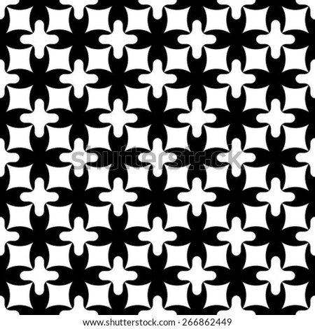 Monochrome geometric seamless pattern with flowers and lines. - stock vector