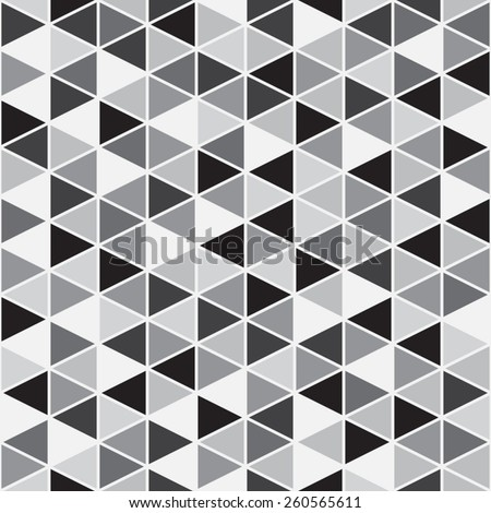 Monochrome geometrical seamless vector pattern background. Black, white, shades of grey. Triangles with white stroke.  - stock vector