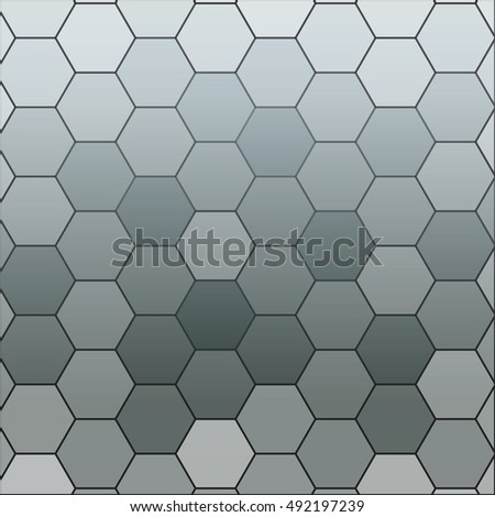 monochrome gradient background with a hexagonal pattern. vector illustration. square. for the design, printing, presentations