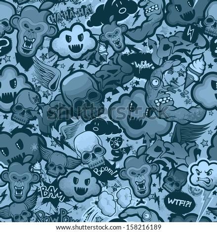 Monochrome graffiti cartoon bizarre funky characters seamless freak texture. Pattern, wallpaper from doodles. - stock vector