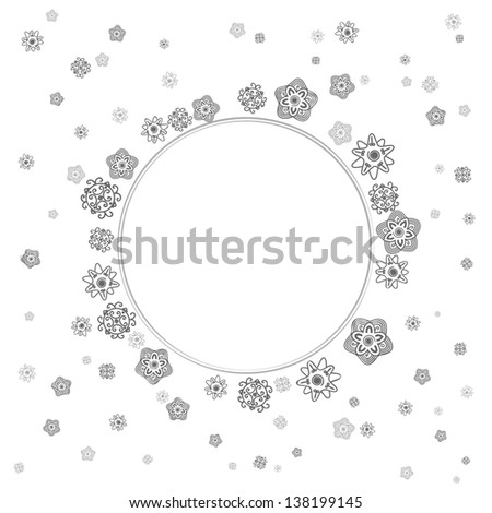 monochrome gray lace flowers on white background. greeting card
