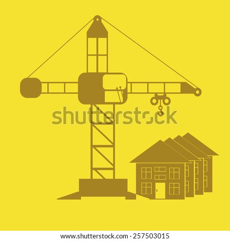 monochrome icon set with Crane, construction - stock vector
