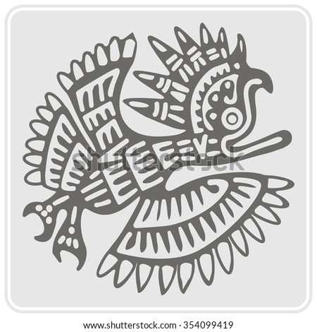 monochrome icon with American Indians art and ethnic ornaments for your design - stock vector