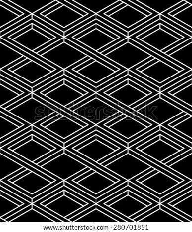 Monochrome illusory abstract geometric seamless pattern with 3d geometric figures. Vector black and white striped backdrop. - stock vector