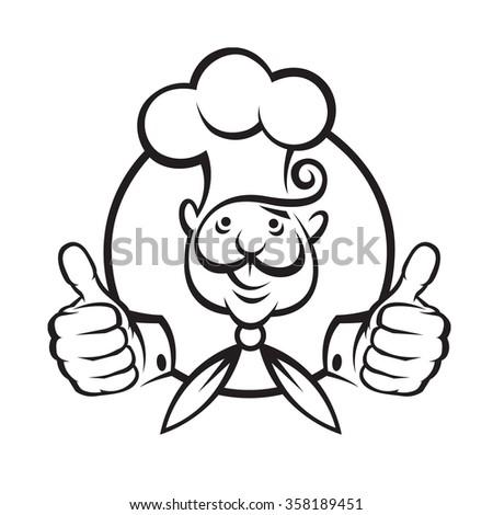 monochrome illustration of a chef - stock vector