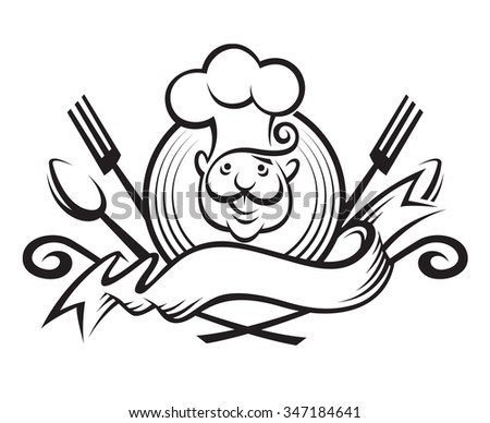 monochrome illustration of a chef with spoon, fork and ribbon - stock vector