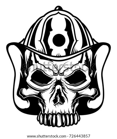 monochrome illustration skull firefighters helmet isolated maltese cross vector image maltese cross vector image