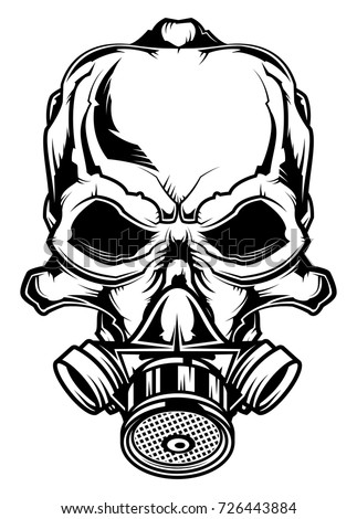 Monochrome Illustration Of Skull At Gas Mask Isolated On White Background