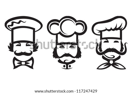 monochrome illustration of three chefs - stock vector