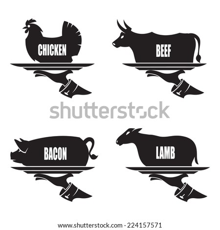 monochrome illustration of tray in hand with farm animals - stock vector