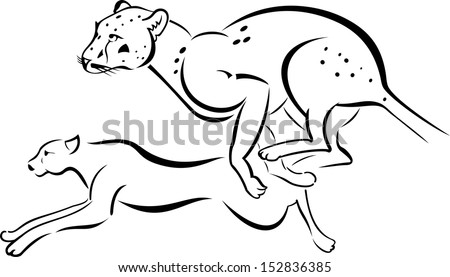 Monochrome illustration of two running Leopard