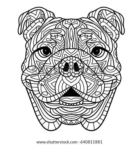 Coloring Book For Adults The Head Of A Dog With Pattern