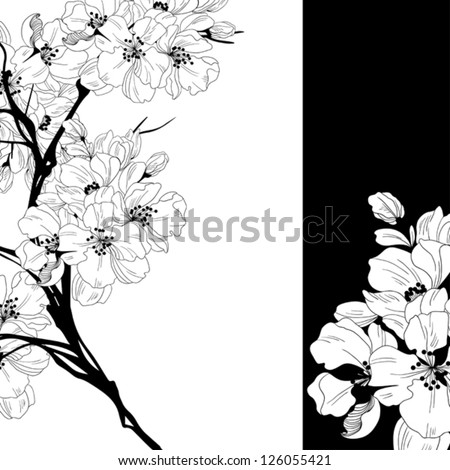 monochrome invitation or greeting card with Oriental cherry - digital artwork for textiles, fabrics, souvenirs, packaging and botanical cards. floral frame - stock vector