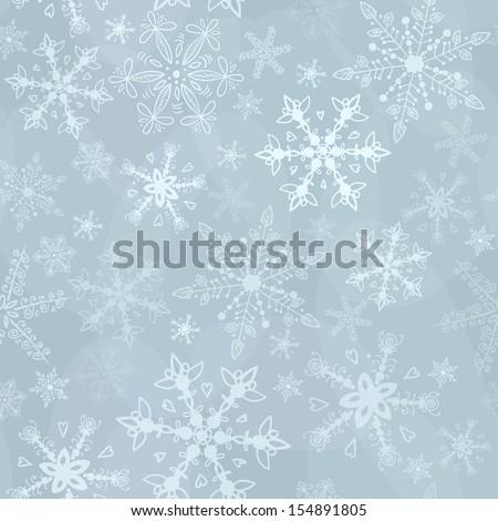 Monochrome light seamless snowflakes - stock vector