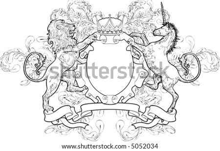Monochrome Lion and Unicorn Coat of Arms A black and white shield coat of arms element featuring a lion, unicorn and crown - stock vector