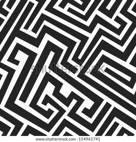 monochrome maze seamless pattern - stock vector