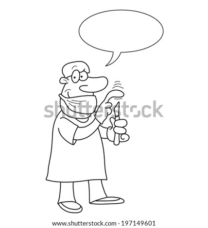 Monochrome outline cartoon doctor with speech bubble for own text isolated on white background - stock vector