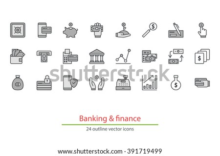 Monochrome outline vector icons on a white background. Money, finance, payments. - stock vector