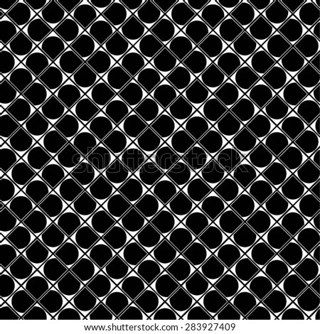 Monochrome pattern of squares and circles, seamless vector background.