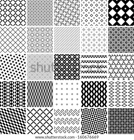 monochrome patterns set. abstract vector background.