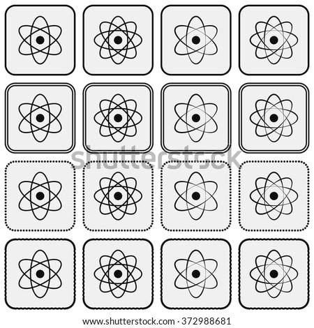 Monochrome planetary atom model science icon set - stock vector