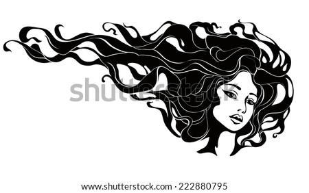 monochrome portrait of a woman with long hair - stock vector