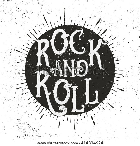 Monochrome Rock Music Print Hipster Vintage Stock Vector