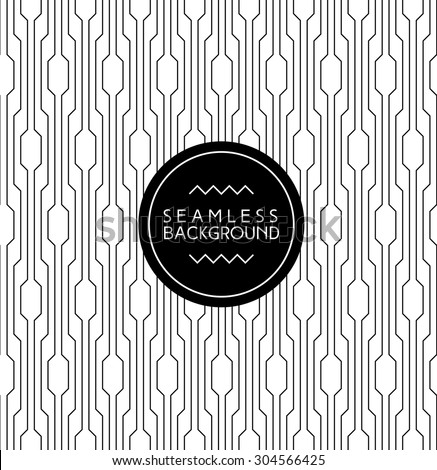 monochrome seamless art deco arabic black and white wallpaper or background with hipster label or badge - stock vector