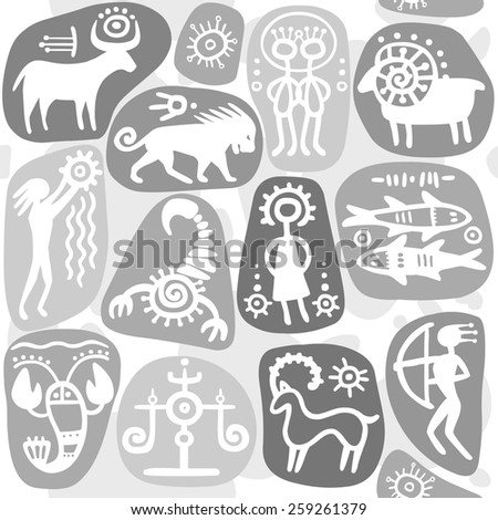 Monochrome seamless background: zodiac signs. Horoscope. Ethnic style.