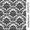 Monochrome seamless damask pattern - stock vector