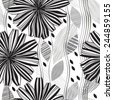 Monochrome seamless pattern of abstract flowers. - stock vector