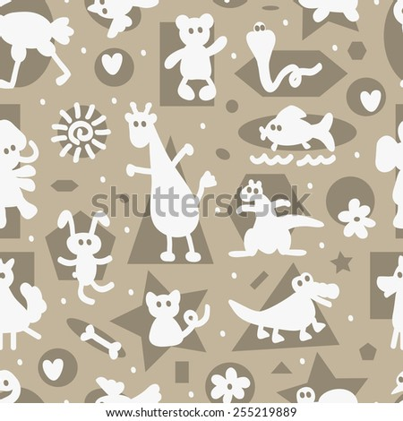 Monochrome Seamless pattern with funny cartoon animal silhouettes. Kids wallpaper.  - stock vector