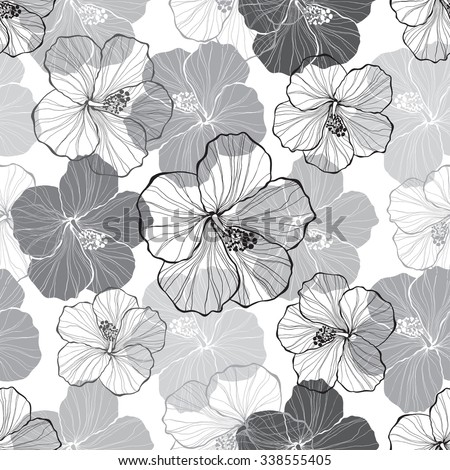 Monochrome  seamless pattern with hibiscus flowers. - stock vector
