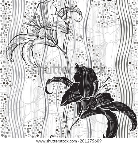 Monochrome seamless pattern with lilies.  - stock vector