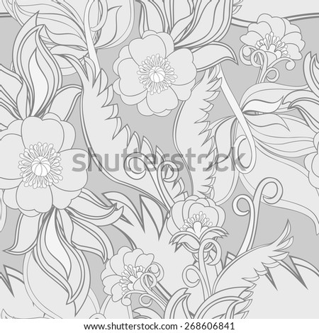 Monochrome seamless pattern with poppies and leaves. Decorative repeatable textile or web background with abstract flowers. Floral motif in grey shadows. Vector file is EPS8. - stock vector