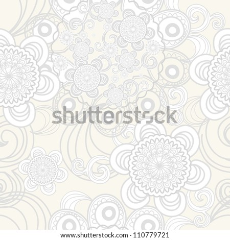 Monochrome seamless vector pattern with swirls