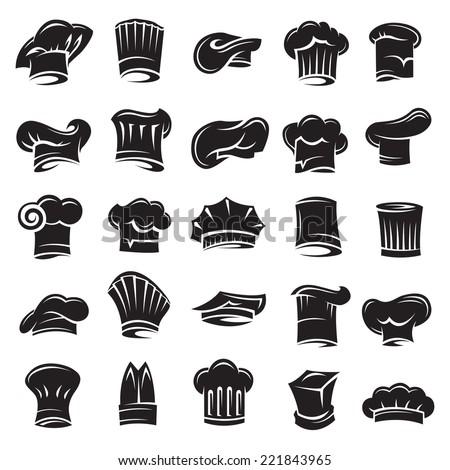 monochrome set of twenty five chef hats - stock vector